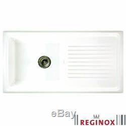 Reginox 1.0 Bowl White Ceramic Reversible Kitchen Sink & Waste RL304CW