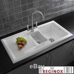Reginox 1.5 Bowl White Ceramic Kitchen Sink, Waste & Traditional Tap
