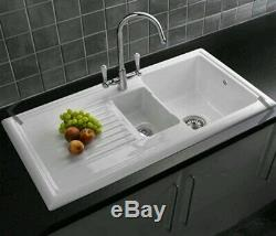 Reginox 1.5 Bowl White Ceramic Kitchen Sink, Waste & Traditional Tap new boxed