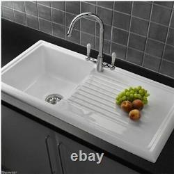 Reginox 600 RL304CW White Ceramic 1.0 Bowl Modern Kitchen Sink & Waste Kit