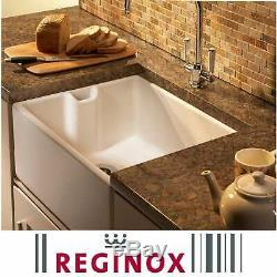 Reginox Belfast 600mm 1.0 Bowl White Gloss Ceramic Butler Kitchen Sink & Waste