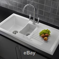 Reginox RL301CW 1.5 Bowl White Ceramic Reversible Kitchen Sink & Waste
