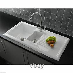 Reginox RL301CW 1.5 Bowl White Ceramic Reversible Kitchen Sink & Waste