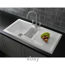 Reginox RL301CW Ceramic 1.5 Bowl Kitchen Sink Traditional White Reversible Waste
