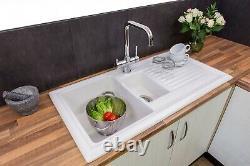 Reginox RL301CW Traditional White Ceramic 1.5 Bowl Sink Basket Strainer Wastes