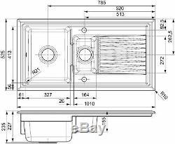 Reginox RL401CB 1.5 Bowl Reversible Inset Ceramic Sink Black