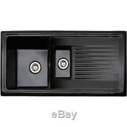 Reginox RL401CB 1.5 Bowl Reversible Inset Ceramic Sink Black RL401CB