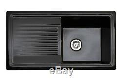 Reginox RL404CB 1.0 Bowl Reversible Inset Ceramic Sink Black RL404CB