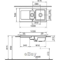 Reginox RL501CW 1.5 Bowl Reversible Inset Ceramic Sink White RL501CW