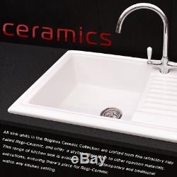 Reginox RL504CW White Ceramic 1.0 Bowl Inset Kitchen Sink & Drainer With Wastes