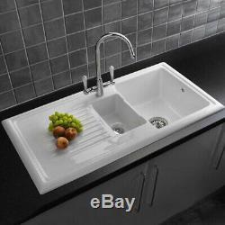 Reginox Regi-ceramic Rl301 Cw, 1.5 Bowl Kitchen Sink White Rl301cw