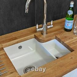 Reginox Tuscany 1.5 Kitchen Sink Bowl White Ceramic Undermount 600mm & Waste
