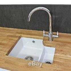 Reginox Tuscany Large 1.5 Bowl Undermount Kitchen Ceramic Sink White FREE Waste