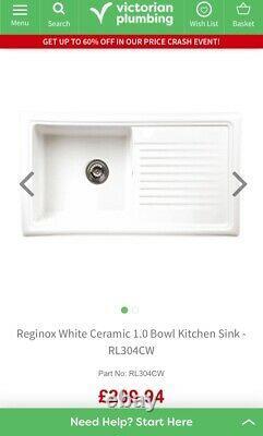 Reginox White Ceramic 1.0 Bowl Kitchen Sink RL304CW