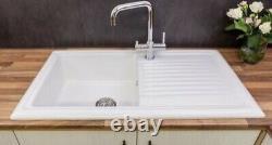 Reginox arkitekt Eviye 100cm. White Ceramic 1.0 Bowl Kitchen Sink & Waste Kit