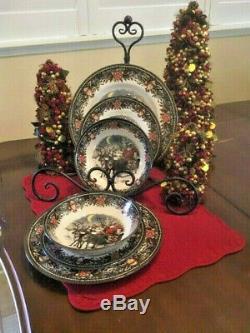 Royal Stafford England Christmas Santas Sleigh Set of Four Plates, Salad, Bowls