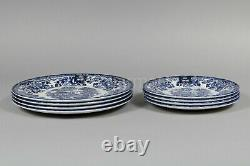Royal Wessex Blue & White Scenic Village Dinner / Salad plate 8Pc