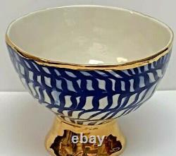 Ruan Hoffmann Anthropologie Pedestal Footed Bowl Planter Vase Blue Gold Jardins