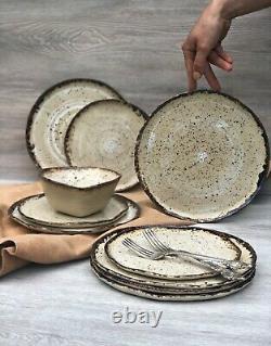 Rustic Ceramic Dinnerware Set of Dessert, Dinner Plates and Soup, Serving Bowls