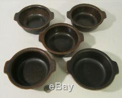 SET 5 Mid Century ARABIA Finland Brown RUSKA Lugged Cereal Bowls ULLA PROCOPE