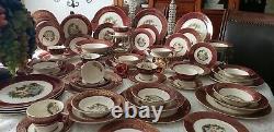 Sebring Serenade- 55 Piece Dinnerware Set Burgundy Band with Golden Scrolls