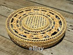 Serving Bowls Ceramic Chip N Dip 7 Pc Blue & White with Golden Rattan Basket Cover