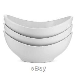 Serving Bowls Ceramic Porcelain Salad Pasta Noodles Snacks White 9 Inch 3 PCS
