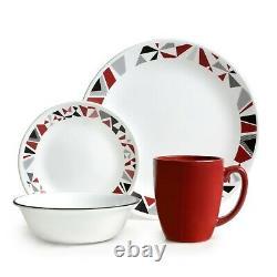 Set Dinnerware 16 PCs Plate Bowl Dinner Service Modern Red Mosaic Art Style NEW