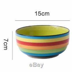 Set of 4 Bright Coloured Large Ceramic Cereal Bowls Soup Bowls