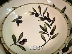 Set of 5 Williams-Sonoma Liguria Olive Branch Pasta Soup Bowls & Serving Bowl