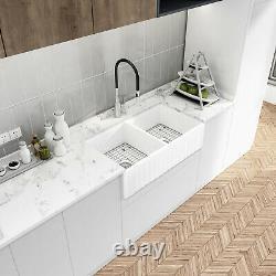 Sinber 33 White Ceramic Double Bowl Apron farmhouse Kitchen Sink With Strainer