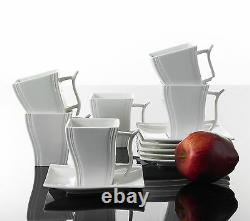 Square 30PCS Ceramic Dinner Kitchen Service Dinnerware Complete Set Plates Cup