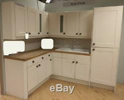 Stonefield Ivory Classic Corner Kitchen Units. Ceramic Bowl & Sink & Tap. Wood