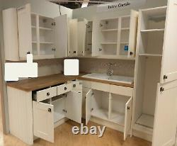Stonefield Ivory Classic Corner Kitchen Units. Ceramic Bowl & Sink & Tap. Wood