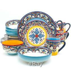 Stoneware Dinnerware Set Oven Safe Spanish Floral Design Bohemian Style 20 Piece