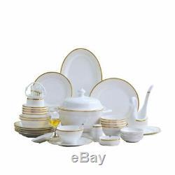 Tableware Dish Plate Bowl Set 60pcs Ceramic Dinnerware Round Classic Food Plates