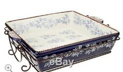 Temptations Presentable Ovenware By Tara Old World Serving Set Floral Lace Blue