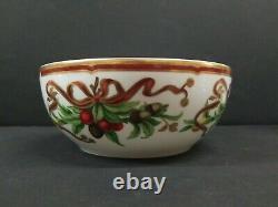 Tiffany&Co Holiday Serving Bowl Ribbon Garland 7.5 Japan Gold Accent