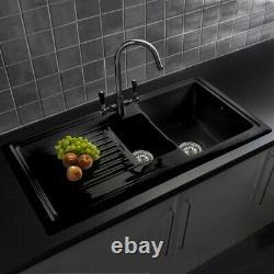 Traditional Black1.5 Bowl Kitchen Sink Ceramic Reversible Waste