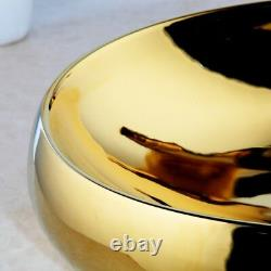 UK Waterfall Gold Mixer Faucet Oval Gold Ceramic Basin Sink Bowl & Pop Drain Set