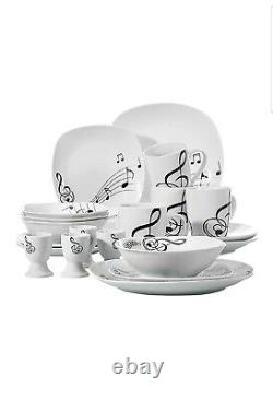 VEWEET 20-Piece Porcelain Dinner Set Tableware Bowl Soup Side Plate Musical Note