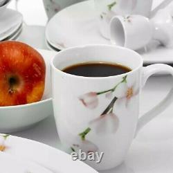 VEWEET ANNIE 40-PCS Ceramic Porcelain Dinner Kitchen Dinnerware Set Plate Bowls