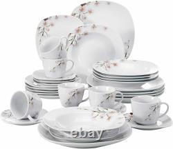 VEWEET Annie Porcelain Pink Floral Pattern Dinner Set Kitchen Plate Bowls Mugs