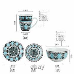 VEWEET Audrie 32pcs Porcelain Tableware Set Kitchen Dinner Side Plates Bowl Mugs
