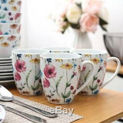 VEWEET Doris 32 Piece Ceramic Porcelain Dinner Dinnerware Set Plate Bowls