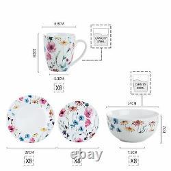 VEWEET Doris 32pcs Ceramic Tableware Set Kitchen Floral Dinner Side Plate Bowl