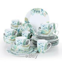 VEWEET Turkish 32 Piece Ceramic Porcelain Dinner Dinnerware Set Plate Bowls