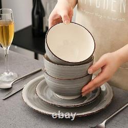 Vancasso4/16 Grey Kitchen Dinner Set Crockery Porcelain Plates Cereal Bowls Cups