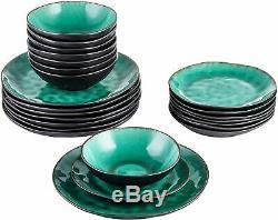 Vancasso 24pcs Dinnerware Bowl Dinner Dessert Plates Set Stoneware Vintage Green