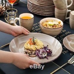 Vancasso 32pcs Kitchen Dinnerware Set Vintage Porcelain Plates Cereal Bowls Mugs